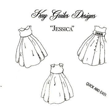 Childrens Girls Sundress Jumper Pattern Quick Easy Jessica Three Bodice Styles Smocking Inset Heirloom Sewing Patterns Uncut Size 3 - 10