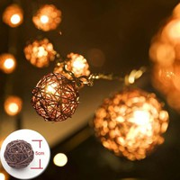ACME 5m 20 Sepak Takraw Rattan Balls LED String Fairy Lights Brown Coffee Outdoor Christmas Wedding Party Decoration Lights