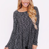Charcoal Flared Knit Top