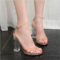 The fashion Transparent thick heels women sandals buckle