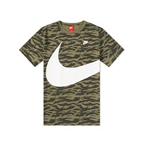 Nike Men's AOP Swoosh Tiger Stripe Camo Olive Black T-Shirt