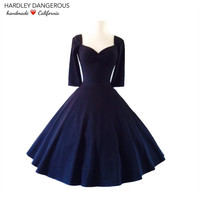 The Cherrybomb,  Black ROCKABILLY Swing Dress with 3/4 Sleeves,  Stretch Knit 50s Style Pin Up, Available in over 30 Custom Colors