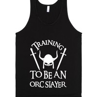 Training To Be an Orc Slayer-Unisex Black Tank