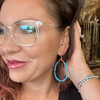Genuine Blue Turquoise Chip & Sterling Silver Navajo Pearl Earring