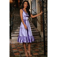 Lavender Charmeuse Fit & Flare Prom Party Ruffle Midi Dress - Women