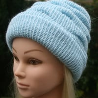 Hat for a young Lady, Girls 7-11 years, Knit Girls hat, Girls winter hat, Bright blue hat for girl, Girls beanie hat, READY TO SHIP!