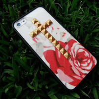 Red Rose studded cross iPhone 4/4s and 5 case with bumper