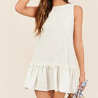 Ruffle Hem Solid Smock Dress