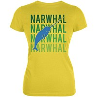 Narwhal Stacked Repeat Juniors Soft T Shirt