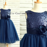 Sequins Flower Girl Dress, Dark Blue Sequins Flower Girl Dresses, Toddler Dress, Girl Dress