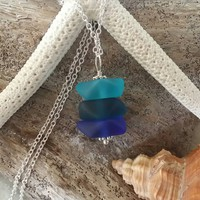 Handmade in Hawaii, Three shades of blue sea glass necklace, 925 sterling silver chain,gift box, Beach sea glass jewelry.