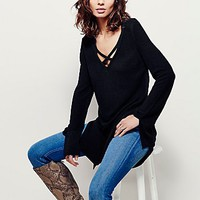 Free People Womens Criss Cross Deep V Pullover