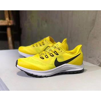 NIKE Zoom PEGASUS 35 Fashion New Hook Print Women Men Running Shoes Yellow