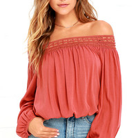 Festival Day Terra Cotta Lace Off-the-Shoulder Top