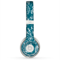 The Blue & White Floral Sketched Lace Patterns v21 Skin for the Beats by Dre Solo 2 Headphones
