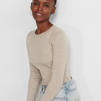Marled Fitted Crew Neck Sweater