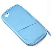 "Cosmos ® 9.5"" Light Blue Multi-Purpose/passport Case/Bag/Holder/Organizer for Card Money Ticket and more with Cosmos Fastening Strap"