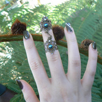 armor ring double chained  ring black czech nail ring  claw ring nail tip ring knuckle ring  vampire goth victorian goddess pagan boho gypsy