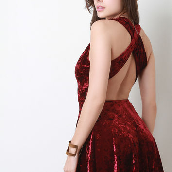 Velvet Criss-Cross Back Skater Dress