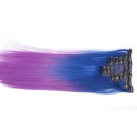 "Blue/Purple (2-Toned):  21"" Clip In 100% Human Hair Extensions"