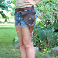 Hip Purse, Belt Pouch, Hand Stitched Leather Pouch Belt Bag, Turquoise, Silver, Fringe, Boho, Hippie, Brown Leather Bag