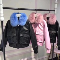 """Givenchy"" Women Simple Fashion Fur Collar Long Sleeve Zip Cardigan PU Leather Clothes Cotton-padded Jacket Coat"