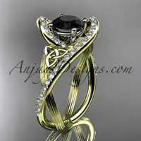 14kt yellow gold diamond celtic trinity knot wedding ring, engagement ring with a Black Diamond center stone CT7369