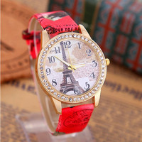 Women's Rhinestone Eiffel Tower Watch with Red Leather Strap Wrist
