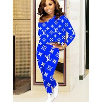 Louis Vuitton LV Autumn And Winter New Fashion Monogram Letter Print Long Sleeve Leisure Top And Pants Two Piece Suit WomenLong Sleeve Leisure Top And Pants Two Piece Suit Women Blue