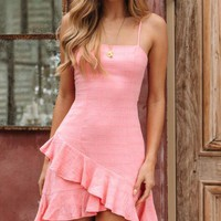 Sexy Women Pink Irregular Ruffled Backless Halter Dress