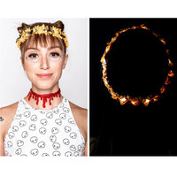 LED Halloween themed flower crown LED Flower crown for Coachella raves and music festivals cosplay EDC electric forest rave outfit