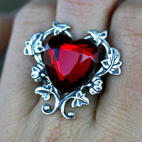 Red Heart Ring  Gothic Victorian Steampunk by robinhoodcouture