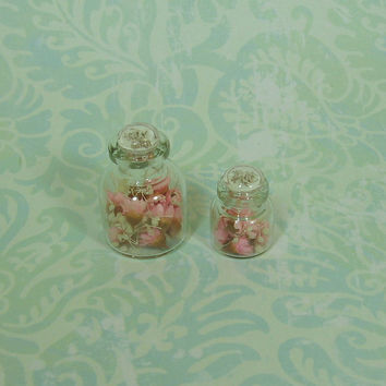 Dollhouse Miniature Pair of Glass Jars with Pink Flowers