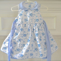 Vintage Blue Baby Girls Gingham Dress And Petticoat Summer Photo Props Dress Size 12 Month Toddlers