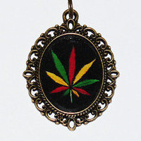 Rasta Hemp Leaf Necklace