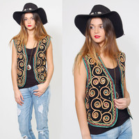 Vintage EMBROIDERED Boho Vest SOUTACHE Ethnic Hippie Vest Black Velvet Gypsy Top