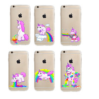 Cute Unicorn Rainbow Case for Apple iphone 6 6s 4.7'' Soft TPU Puke Unicorns Horse gel Fundas Cover Coque Capa Para celular 6/6s