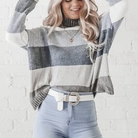 Uh Huh Honey Blue Striped Chenille Sweater