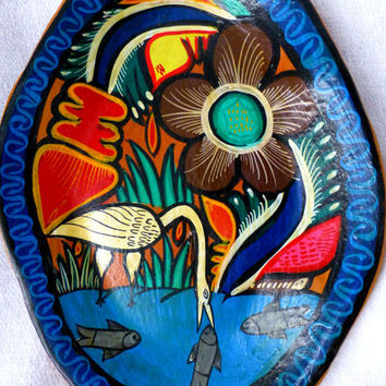 Vintage Mexican Folk Art Handpainted Ceramic Plate -Boho Clay Pottery Dish -Kitsch Home Decor- Flora & Fauna Handcrafted Wall Hanging