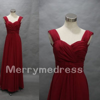 Wine Red Strapless Straps Backless Long Bridesmaid Dress,Floor Length Chiffon Formal Evening Party Prom Dress New Homecoming Dress