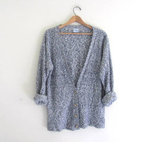 vintage oversized blue speckled sweater. button up sweater. oversized cardigan sweater. XL