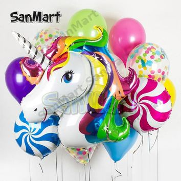 16pcs/lot Confetti Unicorn Balloon Bouquet for Baby Shower Birthday Wedding Party Decoration Star Round Latex Balloons