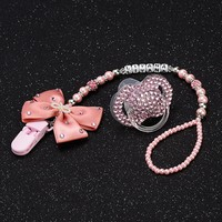 Personalised-any name set stunning pink bling pacifier clip holder dummy clip with bling pacifier for lovely baby