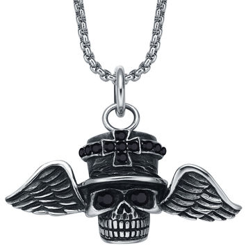 Stainless Steel Gothic Sky Skull Captain W. Black Crystal Pendant Necklace
