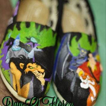 Disney Villains Inspired Custom Painted TOMS or Vans You choose which villains Artwork and Shoes included