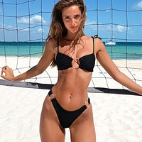 Summer Newest Women Fashion Pure Color Two Piece Bikini Swimsuit Swimwear