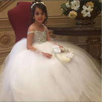 Don's Bridal Luxury Crystal Beaded Girl Weddings Tulle Ball Gown 2016 Flower First Communion Dresses for Girls