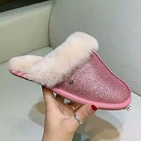 """UGG"" Stylish Women Comfortable Shiny Wool Slipper Shoes Pink"