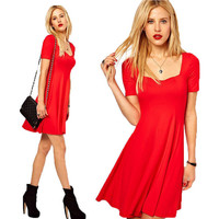 Sexy Red Fashion Women Bandage Short Sleeve Solid Evening Sexy Party Cocktail Mini Dress Gown Ball Prom BOTW