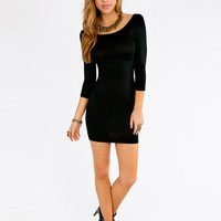 Long Sleeve Cut-Out Bodycon Mini Dress